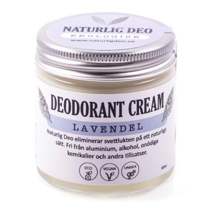 Naturlig deo, Ekologisk Deodorant Cream Lavendel, 60 ml