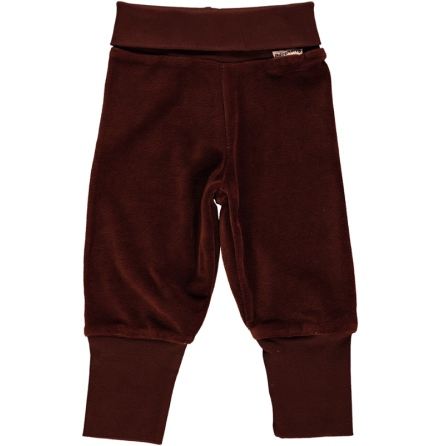 Maxomorra Pants Rib Velour Dark Brown