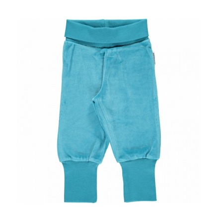 Maxomorra Pants Rib Velour Blue